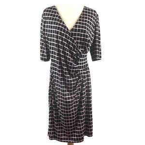 Connected Apparel Plus Silky Geo Surplice Dress